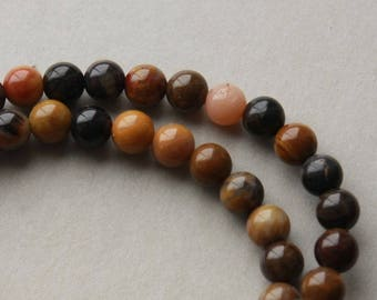 Mookaite Jasper 4mm Round Beads, Multi Colored Jasper Stones, 15 inch strand, Mookite Jasper
