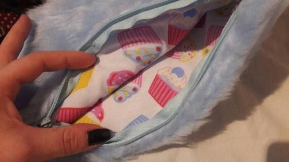 Small make-up bag/ pencil case , handmade, fur casing