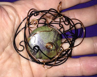 Moss Agate Wire Wrap Pendant