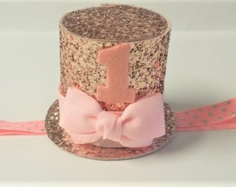 1st birthday headband,Mini top hat, top hat headband,1st birthday mini top hat, Rose gold mini top hat