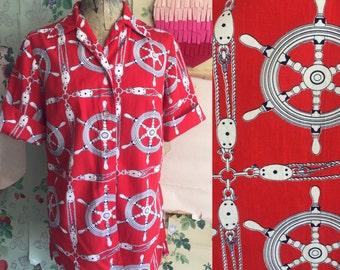 Vintage 1950s Red Nautical Pulley Print Cotton Blouse. Medium/Large. Roll sleeve, wheel, pulley, red, white.