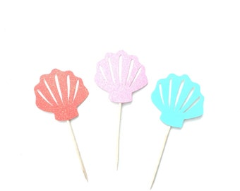 12 Seashell Cupcake Toppers, Under the Sea Party, Seashell Toppers, Mermaid Theme Party Decor