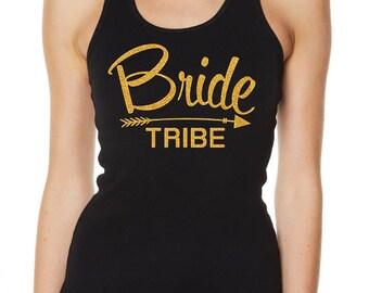 Hens Night Bachelorette Bridal Shower Glitter Iron On Transfer - Bride Tribe with Arrow