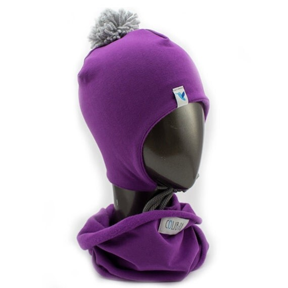 Warm and soft COLIBRI set, baby, toddler earflap winter hat with pompom and infinity scarf