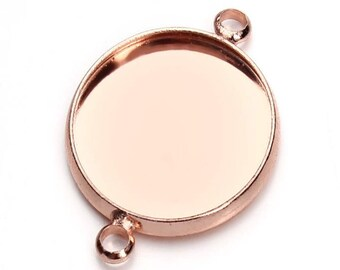 20pcs Round Rose Gold Connector Pendant Trays - Double Loop 10-20mm Bezels Trays