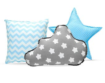 Pillow Set - Cozy Gray Stars Blue