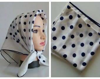 Vintage scarf/ Navy polka dots scarf