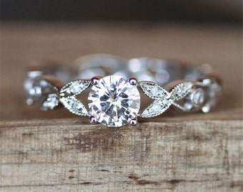 5mm Round Cut Forever Classic Brilliant Moissanite Ring Antique Eternity Diamonds Ring Band 14K White Gold Ring Moissanite Engagement Ring