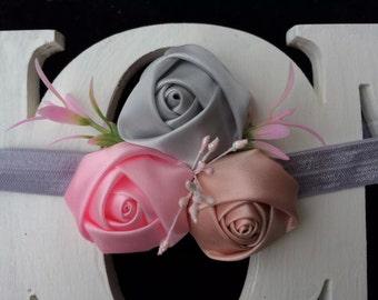 Newborn baby headband, Pink Lace Flower Headband, Newborn headband, Toddler headband, Newborn Photography Prop. Infant headband