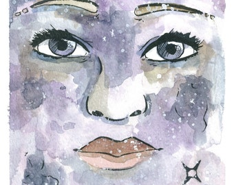 "OOAK Original 6""x9"" Watercolor and Ink Painting, Female Galaxy Portrait; ""Among Stars"""