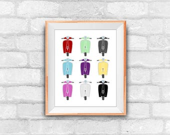 scooter pattern printable art print, instant download, 8x10 inches, wall decor