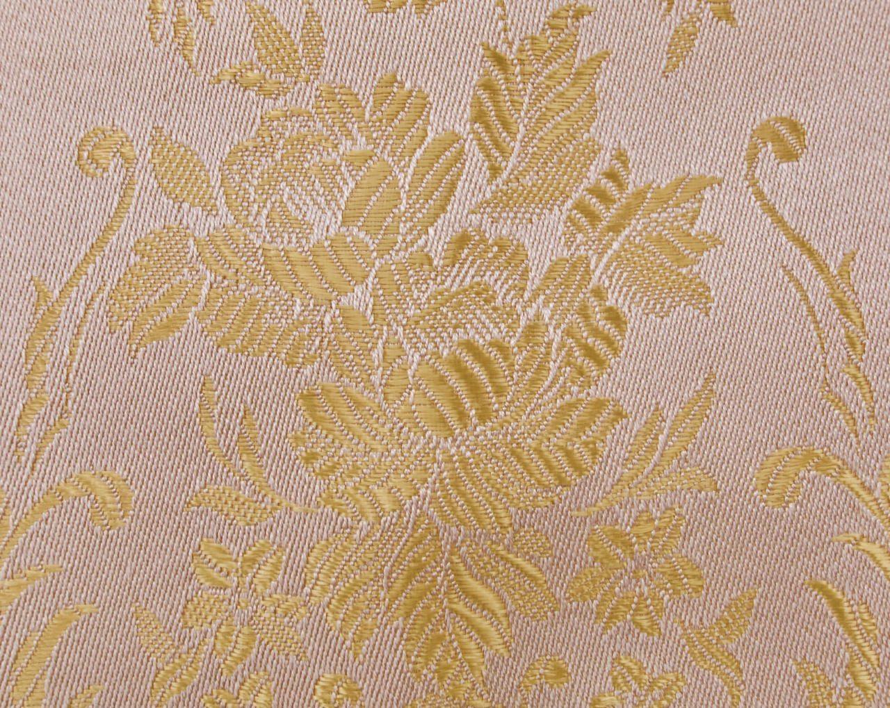 Pink Regency Stripe Brocade Upholstery Fabric Vintage