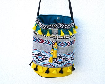 Aztec pouch blue and yellow