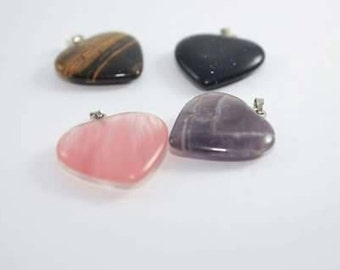 Heart Pendants - Powerful Gemstones Red Cherry Crystal, Tiger Eye, Goldstone, Amethyst