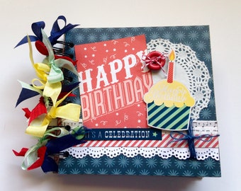 Birthday Mini Album, Birthday Scrapbook, Premade scrapbook album