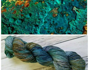 Hand Dyed Yarn, Merino and Nylon Fingering Weight Sock Yarn Perfect for Socks, Shawls, Other Lightweight Accessories - Chrysocolla