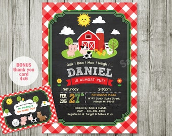 Farm animal Baby shower  Invitations farm Invitations Country Birthday Party Chalkboard Farm Birthday Invitation Personalized