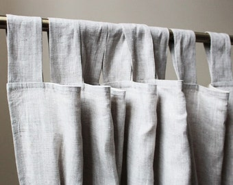 Light Grey Linen Curtains, Grey Curtain Panel, Custom Lenght, Grey Curtains,  Natural