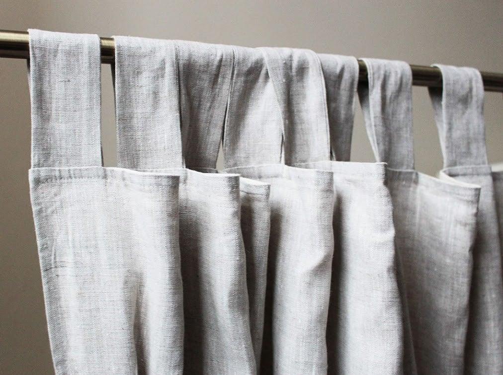 Light Grey Linen Curtains Grey Curtain Panel Custom Lenght