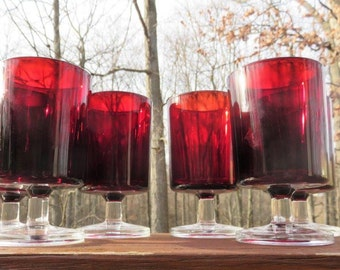 Vintage Luminarc Cavalier Wine/Water Glasses from France Ruby Red
