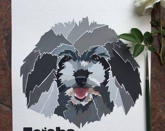 Pet Portrait , Custom Portrait, Pet, Artwork , Dog portrait Australia , Dog Painting Australia, Watercolour portrait, Modern pet portrait