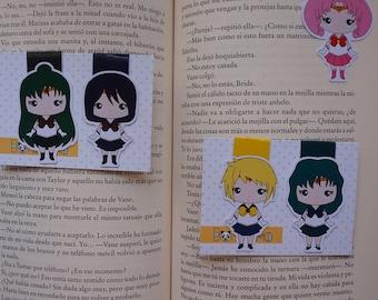 Magnetic bookmarks - Sailor Moon II, Chibimoon, Neptune, Saturn, Uranus, Pluto