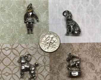 Vintage Sterling Silver Charm / Articulated Clown / Charm Cat / Charm Dog / Charm Capricorn Fob