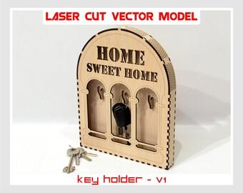Key holder, plywood key holder, key holder laser model, key vector model, keyring holder, box key holder, wall key holder, key storage box