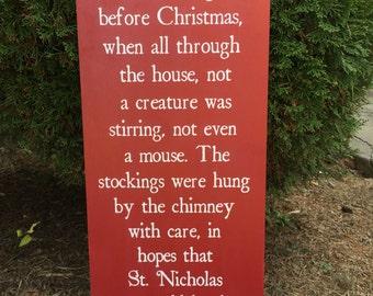 Twas the night before Christmas, Christmas Decor, Santa, Holiday