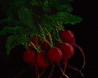Radishes  vegetable paintings  kitchen decor  paintings of radishes  still life paintings  art for kitchens
