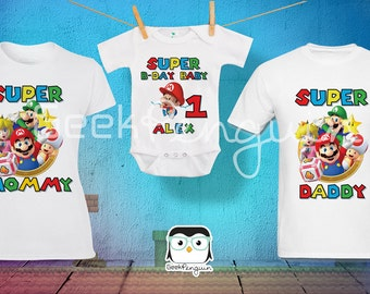 Super Mario Bros Birthday Shirt Custom personalized, mario Birthday T shirt, Party