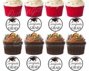 Congrats Grad Graduation Cutout Double Sided Cupcake Picks Cake Toppers 12 pc