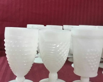 Vintage mid century milk glass parfait or drinking glasses.  Total of 17 for you to pick from