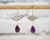 Amethyst Earrings Silver Lotus Earrings Amethyst Silver Earrings Lotus Jewelry Amethyst Jewelry Lotus Earrings February Birthstone