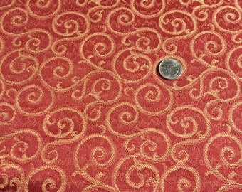 Brownish Red & Tan Swirls Upholstery Fabric - By The Yard
