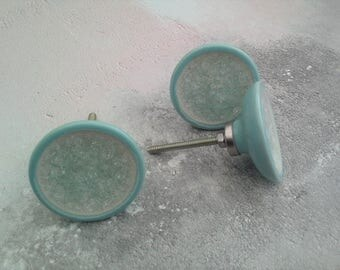 Aqua Crackled Glass Drawer Knob