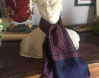 French Vintage Navy Blue, Red and Gold Silk Long Men's or Lady's Scarf / Chic Elegant Accessory in Excellent Condition