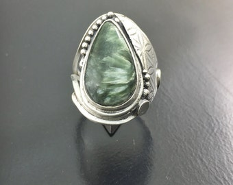 Ring Seraphinite of Russia Seraphinite from Russia silver sterling Silver 925 thousandth euro 56 size 7.5 us size 16 swiss