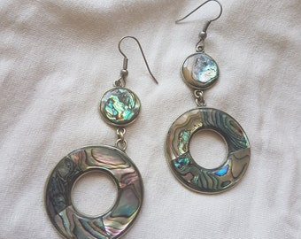 vintage Alpaca Mexico and Abalone drop dangle earrings