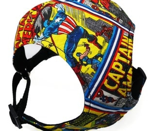 Design Your Own Captain America Small Dog Harness | Pug Harness | Marvel Dog Collar | French Bulldog Harness | Marvel Dog Collar