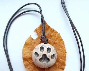 handmade round ceramic pendant cat's paw footprint