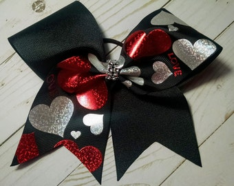 "3"" Metallic Hearts Cheer Bow"