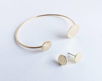 Dot Earrings + Bracelet GOLD Circle Circle of Life