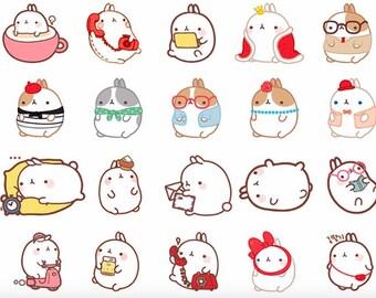 Molang Alideco cute kawaii washi sticky masking deco tape podgy rabbit