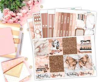 Marble N' Rose || Planner Sticker Kit, Weekly Planner Kits, Weekly Planner Sticker Kit, Planner Stickers, Rose Gold Marble Stickers