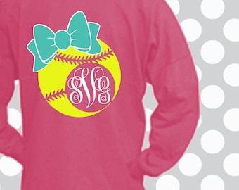 Softball SVG, Softball, bow, decal cut file, Softball shirt, Softball Monogram svg, Softball dxf, Softball mom, Softball Cricut, Silhouette