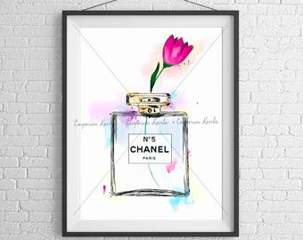 Watercolor - PRINTABLE - handmade - Chanel 5