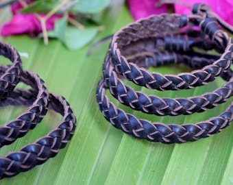 10 pcs! Braided leather bracelets cuffs . Adjustable size. Natural tones. Genuine leather.