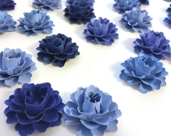 Dessert Table Decor | Wedding Table Decorations | Blue Paper Flowers (Set of 50)