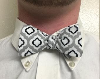 White, Black, Gray Pattern Adjustable Bow Tie